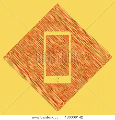 Abstract style modern gadget with blank screen. Template for any content. Vector. Red scribble icon obtained as a result of subtraction rhomb and path. Royal yellow background.