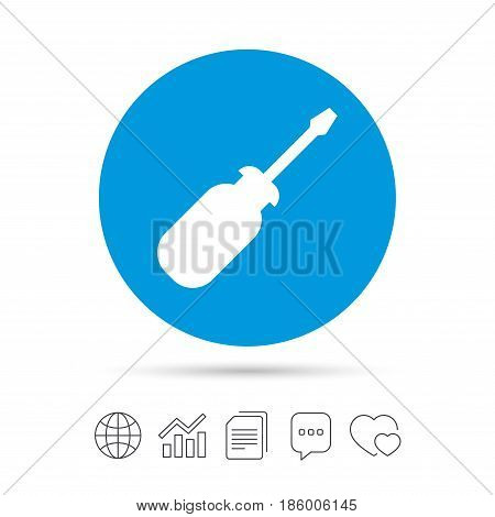 Screwdriver tool sign icon. Fix it symbol. Repair sign. Copy files, chat speech bubble and chart web icons. Vector