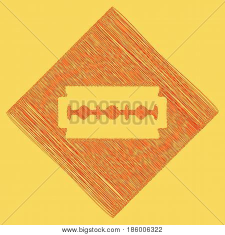 Razor blade sign. Vector. Red scribble icon obtained as a result of subtraction rhomb and path. Royal yellow background.
