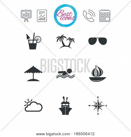 Presentation, report and calendar signs. Cruise trip, ship and yacht icons. Travel, cocktails and palm trees signs. Sunglasses, windrose and swimming symbols. Classic simple flat web icons. Vector