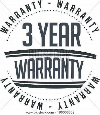 3 year warranty vintage grunge black rubber stamp guarantee background