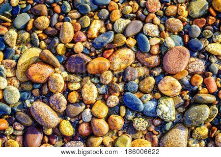 Colorful pebbles on a Lake Superior beach in Whitefish Point, Michigan