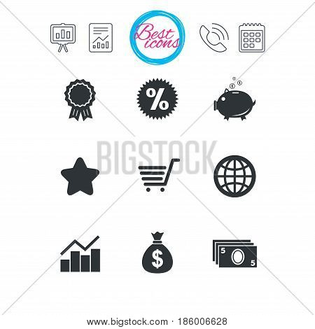 Presentation, report and calendar signs. Online shopping, e-commerce and business icons. Piggy bank, award and star signs. Cash money, discount and statistics symbols. Classic simple flat web icons