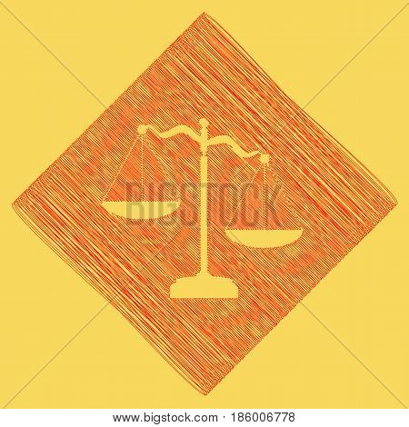 Scales of Justice sign. Vector. Red scribble icon obtained as a result of subtraction rhomb and path. Royal yellow background.