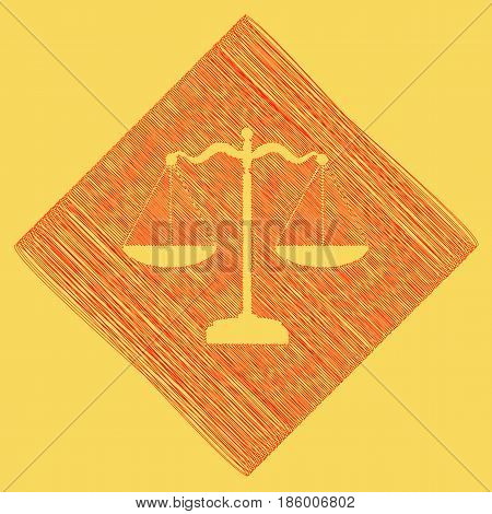 Scales balance sign. Vector. Red scribble icon obtained as a result of subtraction rhomb and path. Royal yellow background.