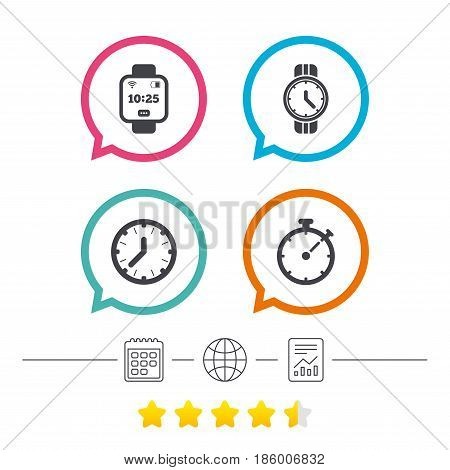 Smart watch icons. Mechanical clock time, Stopwatch timer symbols. Wrist digital watch sign. Calendar, internet globe and report linear icons. Star vote ranking. Vector