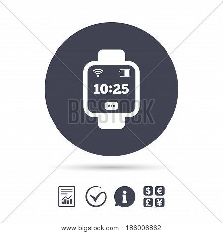 Smart watch sign icon. Wrist digital watch. Wi-fi and battery energy symbol. Report document, information and check tick icons. Currency exchange. Vector