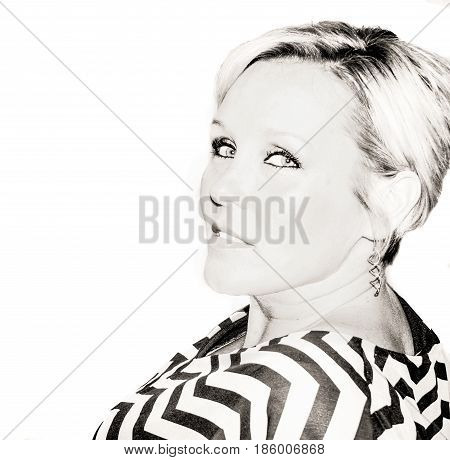 high key portrait of a  blonde short haired woman in black and white