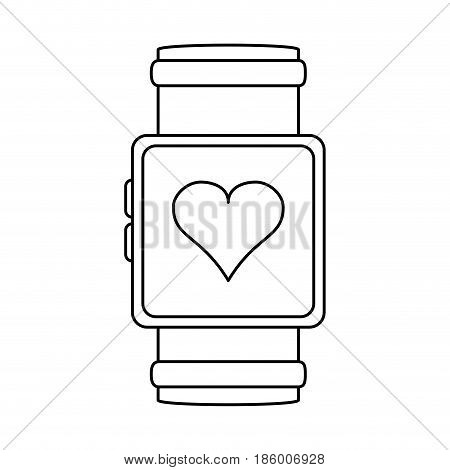 heart rate wrist monitor icon image vector illustration design  single black line