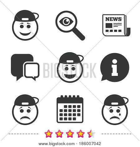 Rapper smile face icons. Happy, sad, cry signs. Happy smiley chat symbol. Sadness depression and crying signs. Newspaper, information and calendar icons. Investigate magnifier, chat symbol. Vector