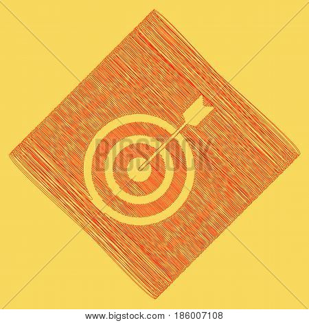 Target with dart. Vector. Red scribble icon obtained as a result of subtraction rhomb and path. Royal yellow background.