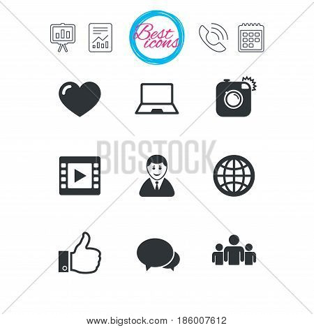 Presentation, report and calendar signs. Social media icons. Video, share and chat signs. Human, photo camera and like symbols. Classic simple flat web icons. Vector