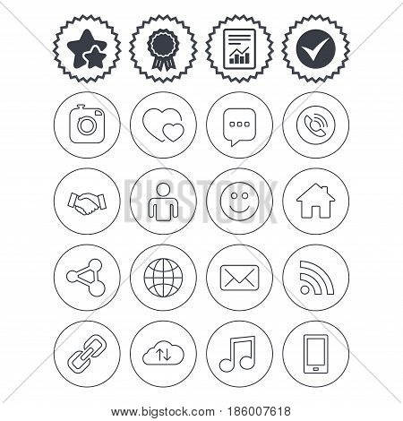 Report, check tick and award signs. Social media icons. Speech bubble, lovers relationships and human person. Rss, share and mail envelope. Musical note, smartphone and smile. Best quality star symbol