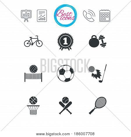 Presentation, report and calendar signs. Sport games, fitness icons. Football, basketball and tennis signs. Golf, bike and winner medal symbols. Classic simple flat web icons. Vector