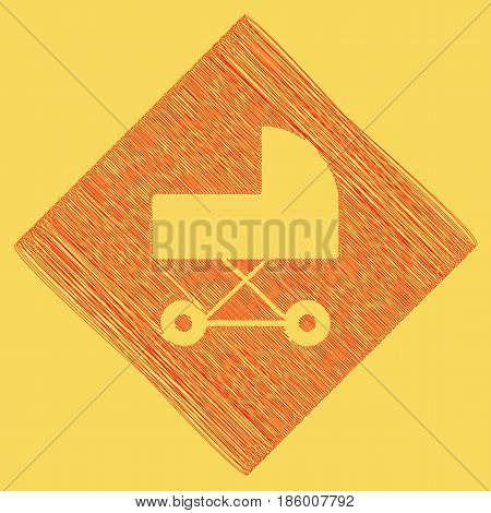Pram sign illustration. Vector. Red scribble icon obtained as a result of subtraction rhomb and path. Royal yellow background.