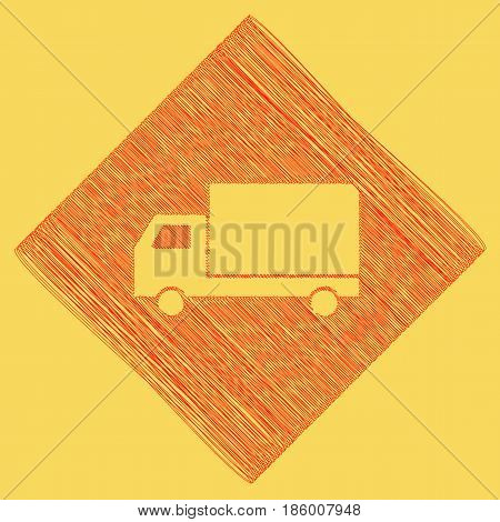 Delivery sign illustration. Vector. Red scribble icon obtained as a result of subtraction rhomb and path. Royal yellow background.
