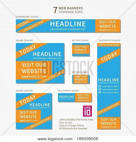 Vector business standard size Web Banners Set Visit Our Website. Modern design concept for corporate website advertising.