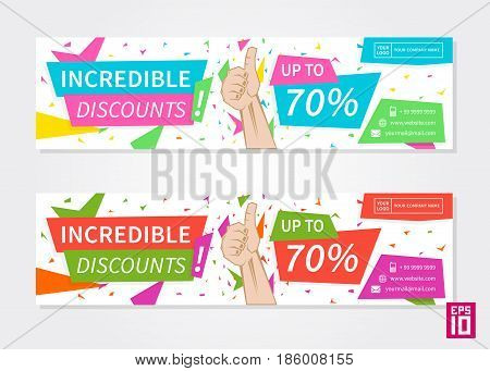 Vector colorful promotion banner Incredible Discounts. Business offer flyer template.