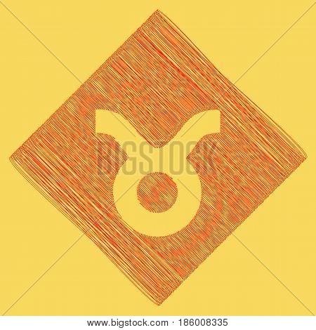 Taurus sign illustration. Vector. Red scribble icon obtained as a result of subtraction rhomb and path. Royal yellow background.