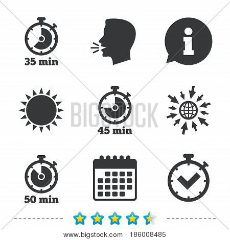 Timer icons. 35, 45 and 50 minutes stopwatch symbols. Check or Tick mark. Information, go to web and calendar icons. Sun and loud speak symbol. Vector