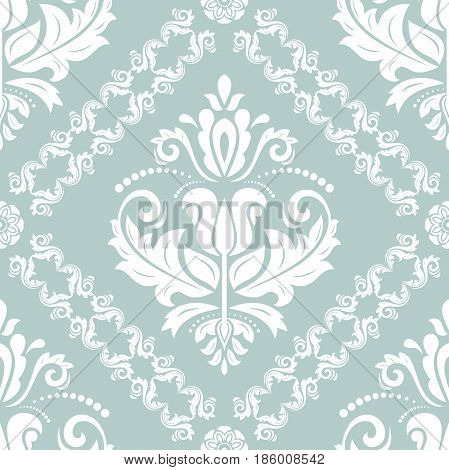 Classic seamless vector light blue and white pattern. Traditional orient ornament. Classic vintage background