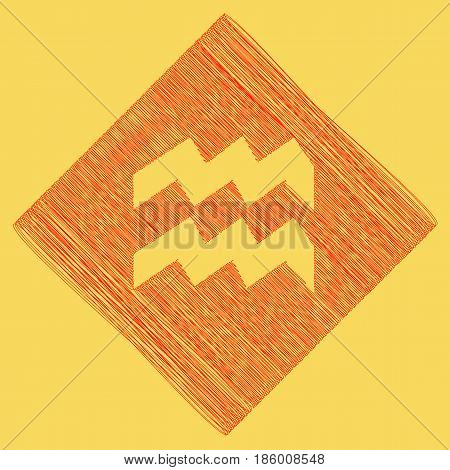 Aquarius sign illustration. Vector. Red scribble icon obtained as a result of subtraction rhomb and path. Royal yellow background.