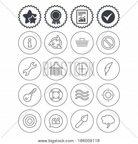 Report, check tick and award signs. Universal icons. Information, shopping basket and shower. Repair tool, home key and brush. Comic speech bubble, target aim and quotes. Best quality star symbol