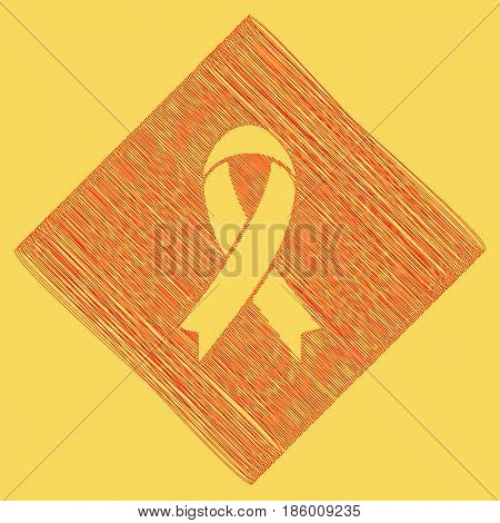Black awareness ribbon sign. Vector. Red scribble icon obtained as a result of subtraction rhomb and path. Royal yellow background.