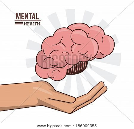 mental health, hand with brain human prevention medical vector illustration