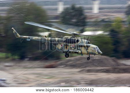 SOCHI, RUSSIA - OCTOBER 30, 2012: Mi-8AMTSH RF-95181 of russian air force taking off at Sochi-Adler international airport.
