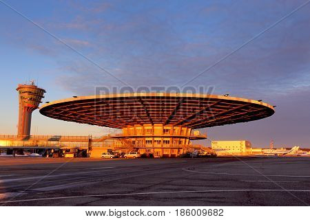 SHEREMETYEVO, MOSCOW REGION, RUSSIA - FEBRUARY 26, 2015: Old Terminal building Ryumka of Sheremetyevo international airport.