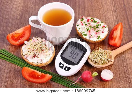 Glucometer, Freshly Sandwich With Vegetables And Hot Tea, Healthy Nutrition Concept