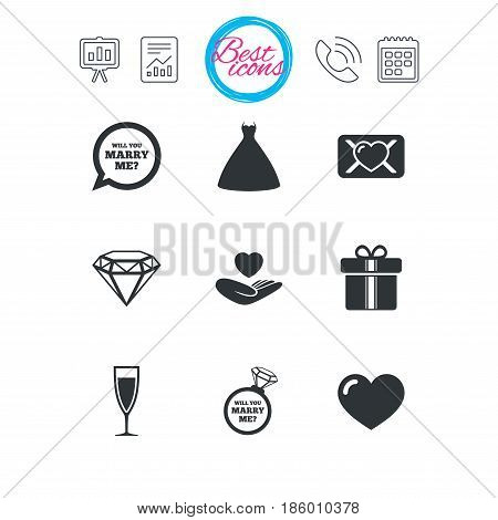 Presentation, report and calendar signs. Wedding, engagement icons. Love oath letter, gift box and brilliant signs. Dress, heart and champagne glass symbols. Classic simple flat web icons. Vector