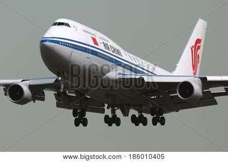 SHEREMETYEVO, MOSCOW REGION, RUSSIA - APRIL 26, 2012: Air China Boeing 747-400 B-2447 landing at Sheremetyevo international airport with prime minister on board.