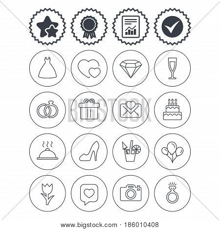 Report, check tick and award signs. Wedding and party icons. Dress, diamond and rings. Gift box, invitatiom letter and rose flower. Speech bubble with heart and photo camera. Best quality star symbol