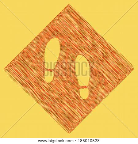 Imprint soles shoes sign. Vector. Red scribble icon obtained as a result of subtraction rhomb and path. Royal yellow background.