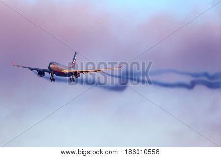 SHEREMETYEVO, MOSCOW REGION, RUSSIA - DECEMBER 11, 2014: Aeroflot Airbus A330 landing at Sheremetyevo international airport.