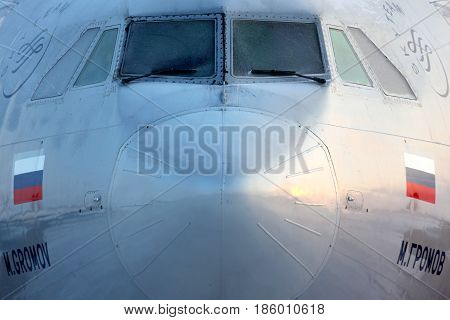 SHEREMETYEVO, MOSCOW REGION, RUSSIA - FEBRUARY 4, 2012: Aeroflot Ilyushin Il-96-300 RA-96015 standing at Sheremetyevo international airport.