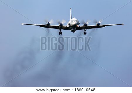 KUBINKA, MOSCOW REGION, RUSSIA - JUNE 3, 2011: Ilyushin IL-20 of russian air force landing at Kubinka air force base.