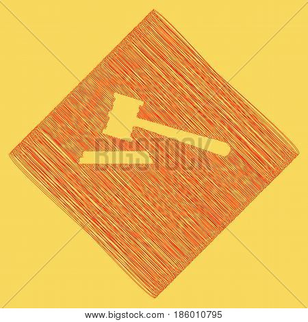 Justice hammer sign. Vector. Red scribble icon obtained as a result of subtraction rhomb and path. Royal yellow background.