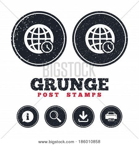 Grunge post stamps. World time sign icon. Universal time globe symbol. Information, download and printer signs. Aged texture web buttons. Vector