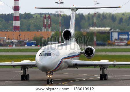 SHEREMETYEVO, MOSCOW REGION, RUSSIA - MAY 28 2012: Tupolev Tu-154B-2 RA-85554 of russian air force taxiing at Sheremetyevo international airport.