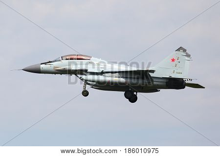 ZHUKOVSKY, MOSCOW REGION, RUSSIA - AUGUST 14, 2011: Mikoyan MiG-29K 941 WHITE of russian navy performing test flight at Zhukovsky.