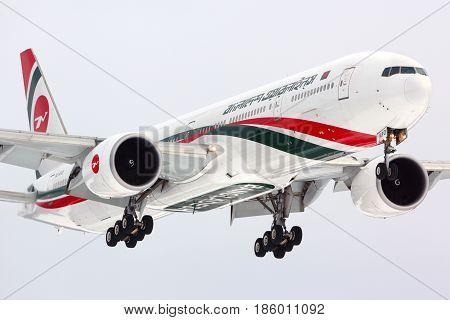 SHEREMETYEVO, MOSCOW REGION, RUSSIA - JANUARY 7, 2014: Biman Boeing 777-300 S2-AFO landing at Sheremetyevo international airport with Bangladesh prime minister on board.