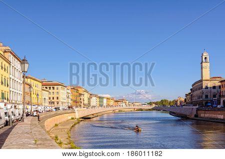 Lungarno Antonio Pacinotti and the historic bridge, Ponte di Mezzo, over the tidal river Arno in Pisa, Tuscany, Italy - 9 October 2011