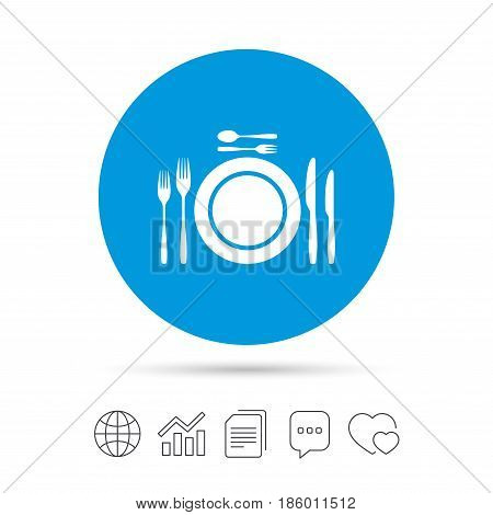 Plate dish with forks and knifes. Dessert trident fork with teaspoon. Eat sign icon. Cutlery etiquette rules symbol. Copy files, chat speech bubble and chart web icons. Vector