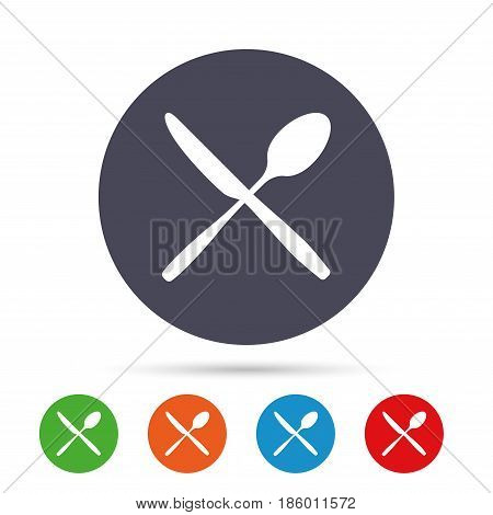 Eat sign icon. Cutlery symbol. Knife and spoon crosswise. Round colourful buttons with flat icons. Vector