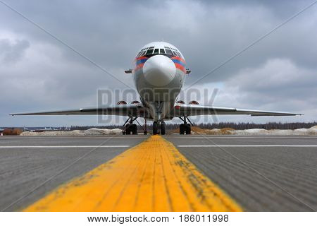 DOMODEDOVO, MOSCOW REGION, RUSSIA - APRIL 16 2011: Ilyushin IL-62M RA-86570 of Ministry of Emergency Situations of Russia at Domodedovo international airport.