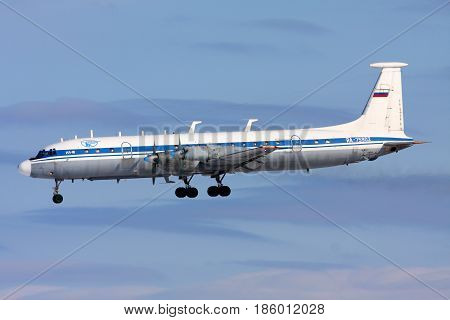 CHKALOVSKY, MOSCOW REGION, RUSSIA - MARCH 2, 2013: Ilyushin IL-22 RA-75902 of Russian Air Force landing at Chkalovsky.