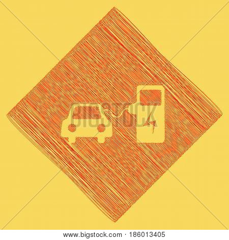 Electric car battery charging sign. Vector. Red scribble icon obtained as a result of subtraction rhomb and path. Royal yellow background.